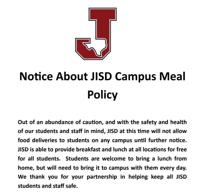 JISD On Campus Meal Policy
