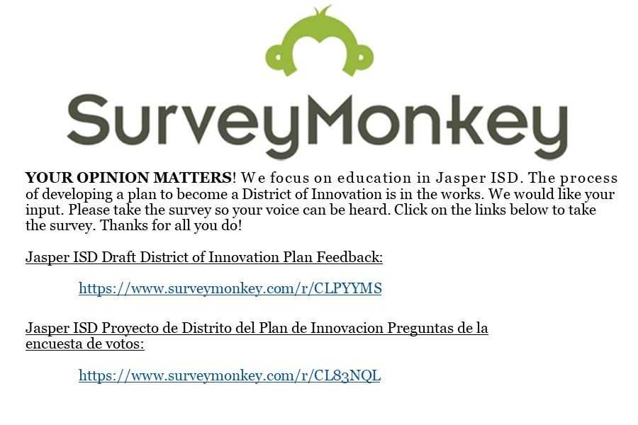 District of Innovation Survey (click title to view survey links)