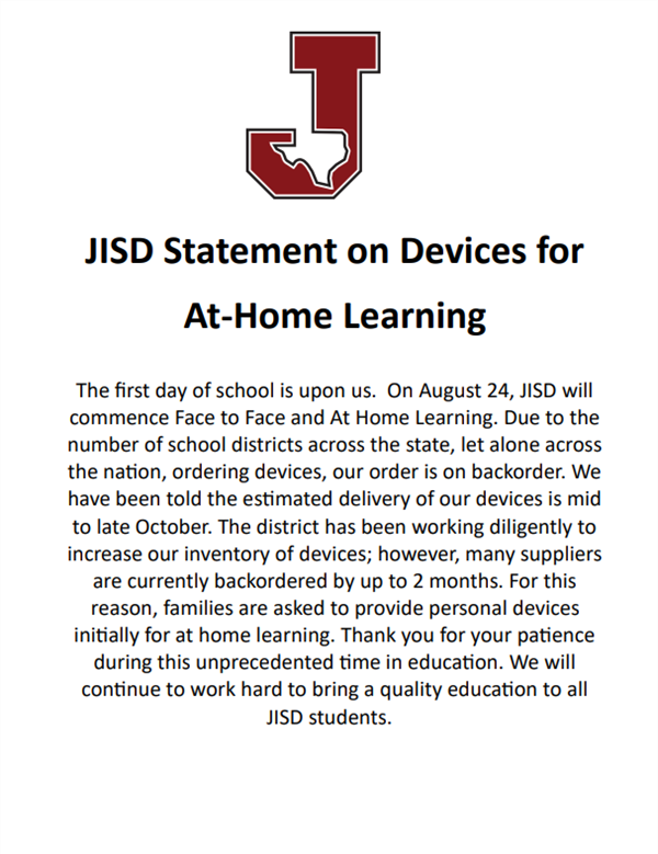 JISD Statement on Devices for At Home Learning